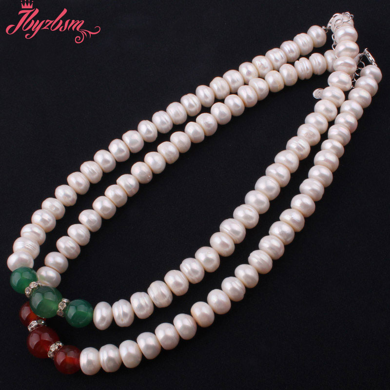 """6x10mm Natural Beads White Freshwater Pearl 10-12mm Round Onyx Stone Necklace 15-17""""Adjustable Size,Free shipping"""