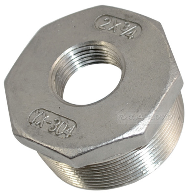 MEGAIRON 2 Male x 3/4 Female DN50 to DN20 Reducer Bushing BSPT Thread Stainless Steel SS 304 Pipe Fittings For Water Gas Oil 2 1 2 male x 1 1 2 female thread reducer bushing m f pipe fitting ss 304 bsp page 6