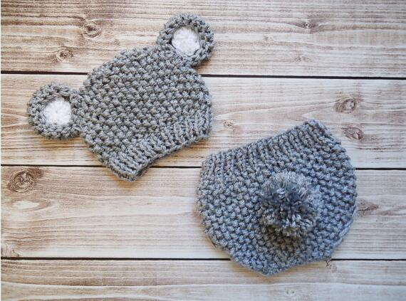 free shipping,Baby Hat, Baby bear Hat, Knit Beanie Hat with Ears , gray Teddy Bear Hat whit diaper cover set MADE TO ORDER NB-3M