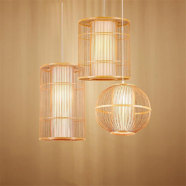 Modern Bamboo LED Living Room Pendant Lights Hotel Lobby Restaurant Loft  Lamp Lighting Bedroom Teahouse Hanging Lamp Luminaire
