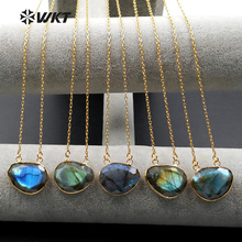 WT N968 Wholesale Custom Natural Labradorite Stone Double Loop Pendan Necklace With Gold Color Chain In Various Stone Jewelry