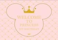 DIY Custom Mickey Mouse Princess Baby Shower Party Pink Wall Background Vinyl cloth Computer print birthday backdrops