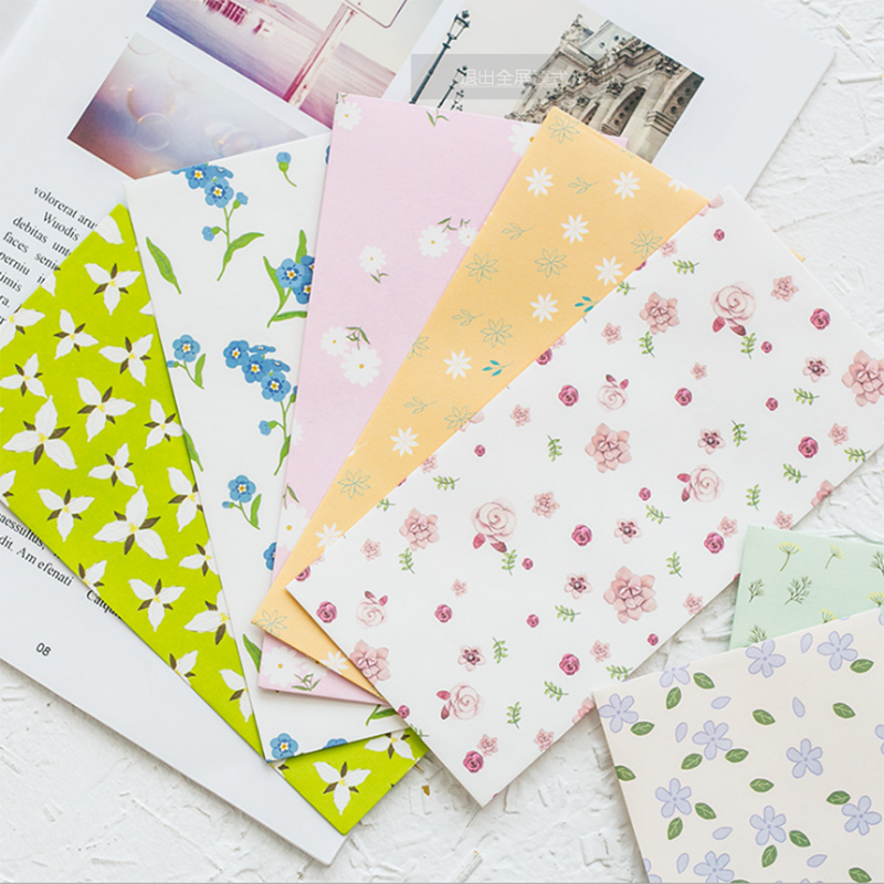 5PCS Cute Plant Flowers And Plants Envelope Writing Paper Stationery Kawaii Birthday Christmas Cpostcard Cards To Friends