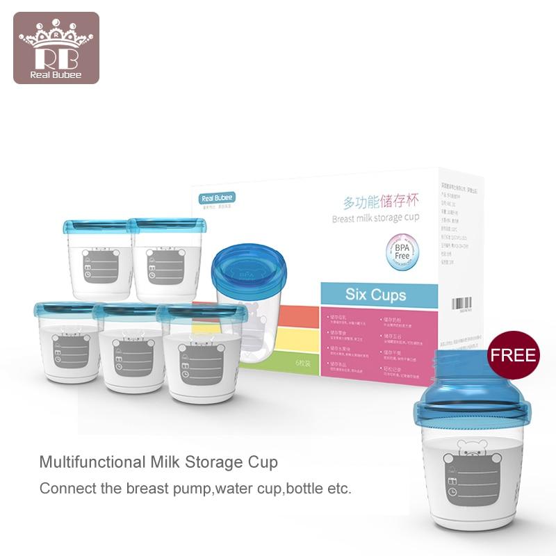 Multifunctional Real Bubee 6PCS/180ML Breast Milk Storage Cup Set Baby Food Storage Cups Breast Feeding Breast Pump Accessories