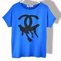 Las mujeres T-shirt de Algodón Modal Del Verano Nuevas 2016 Moda Batwing Manga Corta Tops Camisetas Casual Camisa de la Impresión Floja Ocasional Ropa Femenina