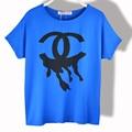 T-shirt das mulheres Modal de Algodão Verão 2016 Nova Moda Batwing Manga Curta Tops Tees Camisa Casual Imprimir Soltas Casual Roupas Femininas