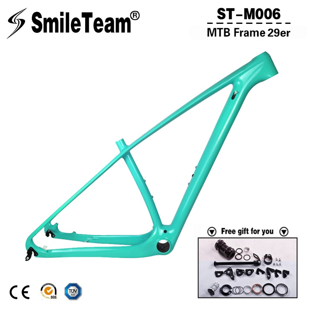 super light 29er 27 5er fat tire mountain bike new carbon frame through axle mtb frame SmileTeam T1000 Full Carbon MTB Frame 29er Carbon Mountain Bike Frame 142*12 Thru Axle or 135*9mm QR Compatible Bicycle Frame