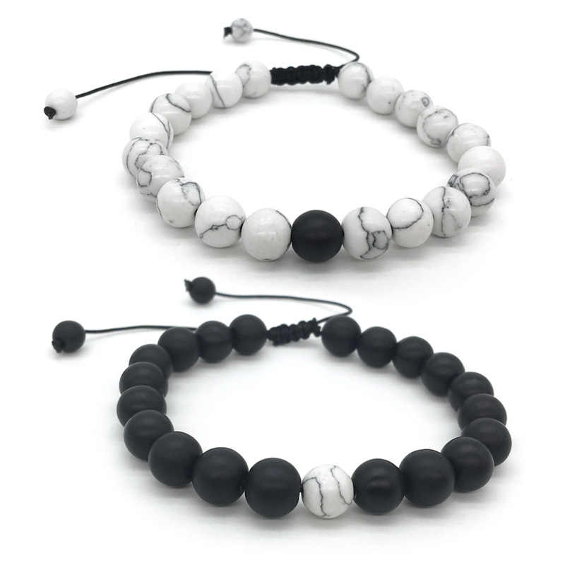1-2Pcs/Set Adjustable Couples Distance Bracelet Classic Natural Stone White and Black Yin Yang Beaded Bracelets for Men Women