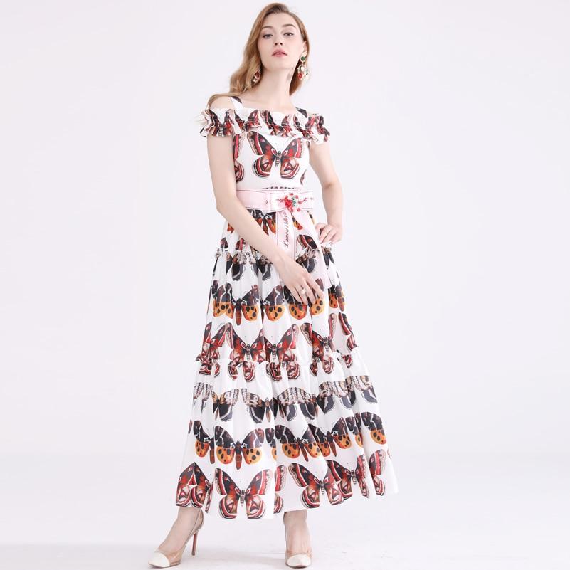 High quality designer fashion Maxi dress Women s Sleeveless Sexy Slash neck Retro Butterfly Print Bow