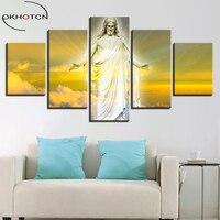 OKHOTCN Moderne Mur de Toile Art Photos HD Imprimé Décoration Cadre 5 Pièces Jésus Christ Peintures Pour Salon Affiches