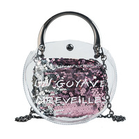 Women new bright Paillettes bag transparent top handle pouch small little crossbody glowing party composite purse