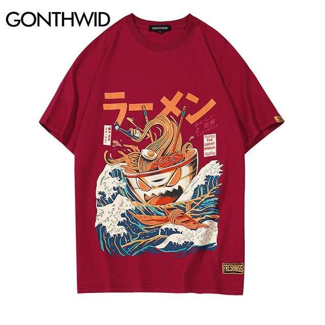 Japon Komik Karikatür Ramen GONTHWID Baskılı Kısa Kollu T Shirt Streetwear Moda Casual erkek Hip Hop Tişörtleri Tees