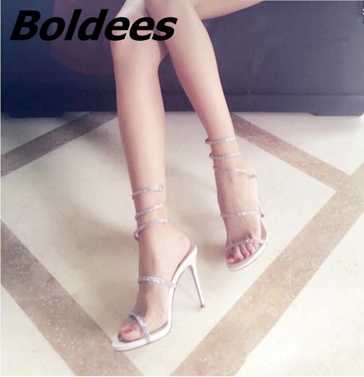 Boldees Мода цветы украшены кристаллами Римские сандалии Для женщин Высокие каблуки знаменитости в том же со стразами платье сандалии - 5