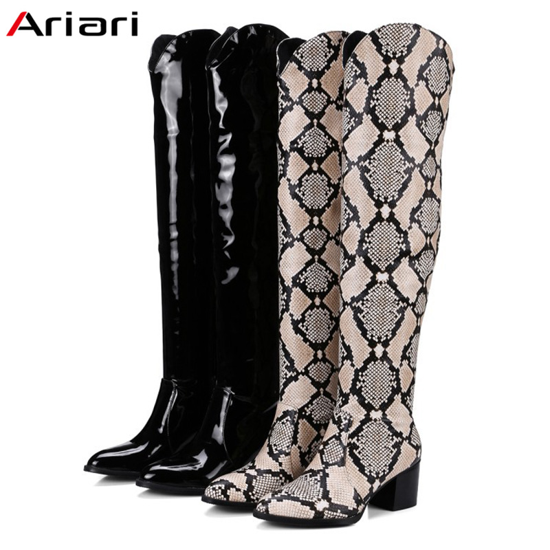 2018 New High Quality Over The Knee Boots Woman Long Boots  Snake Print Women winter footwear sexy Winter Patent Leather boots2018 New High Quality Over The Knee Boots Woman Long Boots  Snake Print Women winter footwear sexy Winter Patent Leather boots