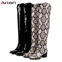 2018 New High Quality Over The Knee Boots Woman Long Boots Snake Print Women winter footwear sexy Winter Patent Leather boots