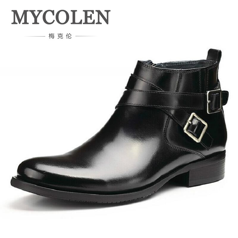 MYCOLEN British Retro Boots Men Winter Genuine Leather Brown Boots 2018 Casual Fashion Comfortable Chelsea Boots Winter botas pathfind men boots chelsea boots martin man tooling military genuine leather casual shoes brown black british men s boots boty