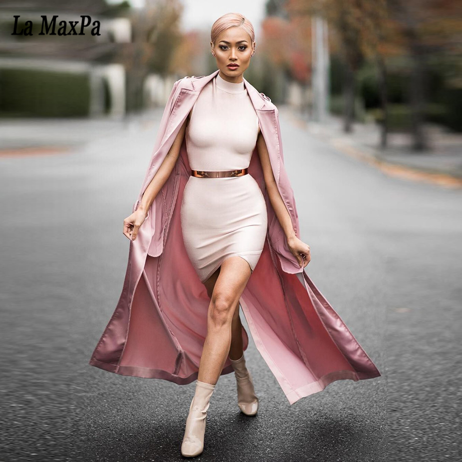 2017 new fashion women runway jacket pink adjustable waist Cardigan elegant lady robes Celebrity bandage cloak In stock dress