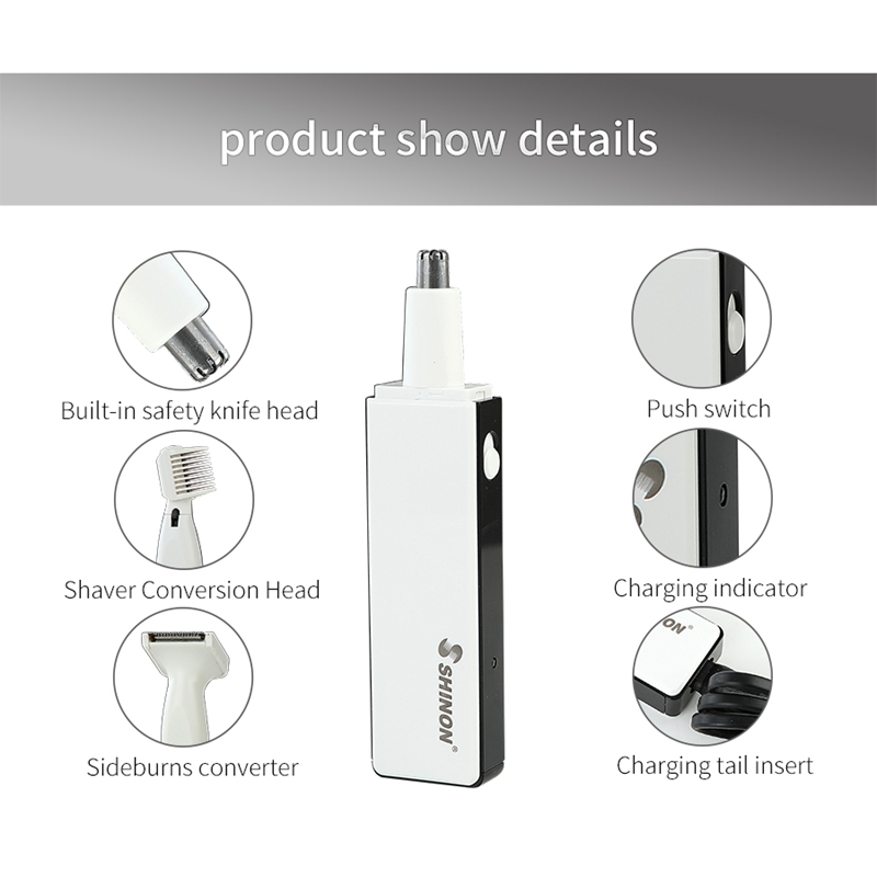 HOT Shinon Nose Hair Clipper Stainless Steel Blades Nose Hair Trimmer 3 In 1 Usb Electric Facial Ear Hair Clippers Eu Plug in Electric Nose Ear Trimmers from Home Appliances