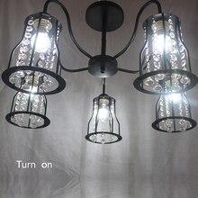 Araña clásica de hierro LED E27 de cristal industrial moderna de 220V para sala de Estar, comedor, dormitorio, estudio, hotel, restaurante, pasillo