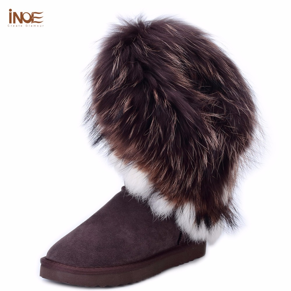INOE big fashion natural fox fur cow leather lady high snow boots for women winter boots