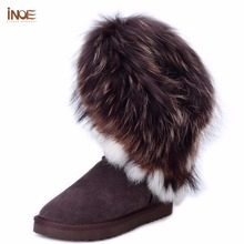 INOE big fashion natural fox fur cow leather lady high snow boots for women winter boots flats shoes rabbit fur tassels edging