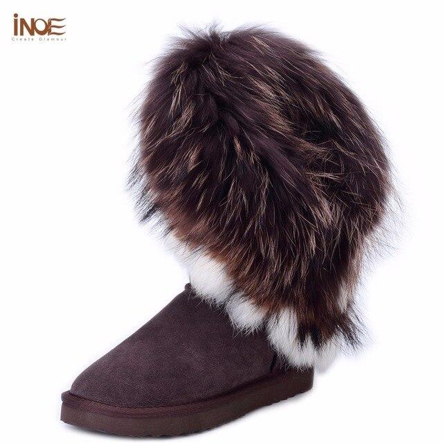 INOE grande moda natural fox fur senhora couro de vaca de alta neve botas de inverno para as mulheres botas flats sapatos de pele de coelho borlas afiação