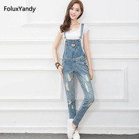 Denim Overalls Women Ripped Jeans Casual Holes Long Trousers Girls Suspenders Bib Jeans Blue WYS02