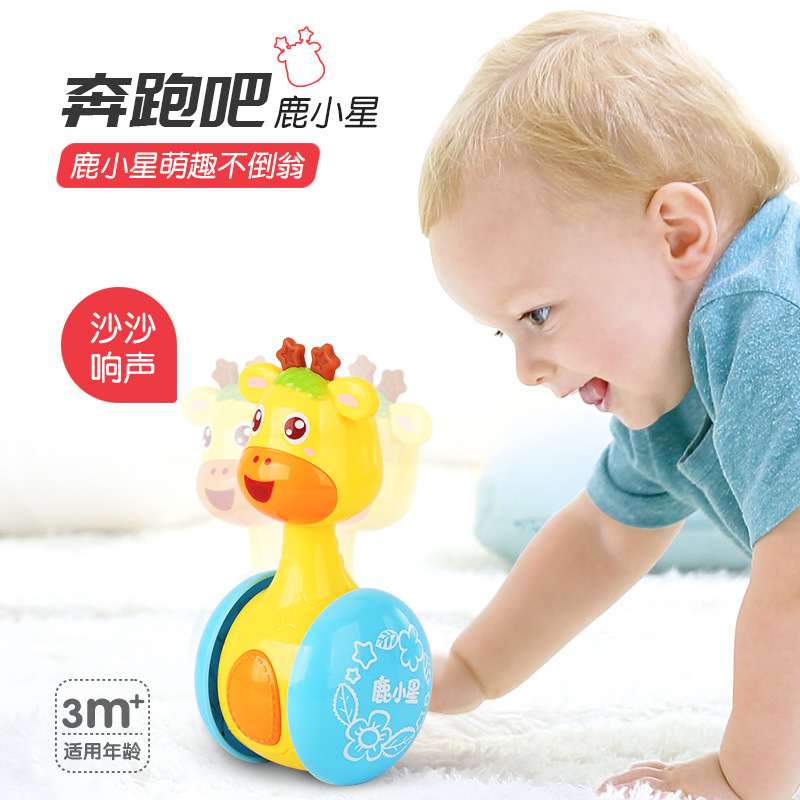 English Version Of Deer Xiaoxing Tumbler Can Slide The Bell 0-3 Years Old Baby Learn To Walk Baby Toys