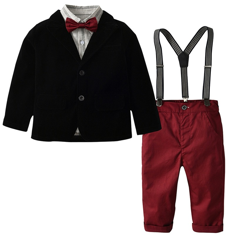 789169f86c5a6 Suits & Blazers Costume for Boy Cotton Baby Boys Suits 2019 New Single  Breasted Suits Boys Formal Wedding Wear Children Clothing