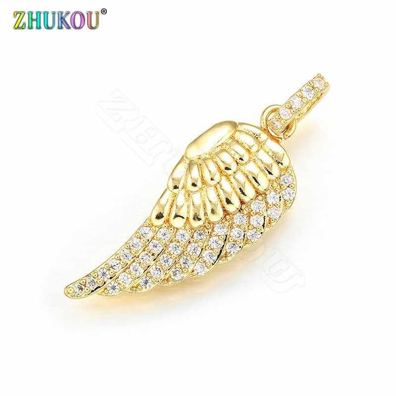 ZHUKOU 13x38mm Melhor qualidade pingente de anjo asas Encantos de metal de bronze para As Mulheres colar e brinco de fazer Acessórios VD412