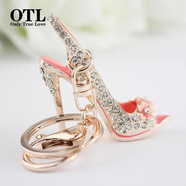 Zinc alloy crystal high shoes Fashion Car Accessories Women Keychain For The Keys Chaveiro Keychain Key Rings