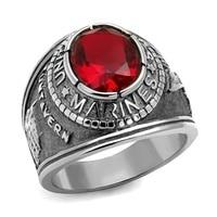 الأمريكي العسكري المارينز حلقة الساخن الرجال للجنسين جديد تصميم اللون سيام اللون الأحمر الحجر الرئيسي الفولاذ الصلب الأزياء الرجال خاتم