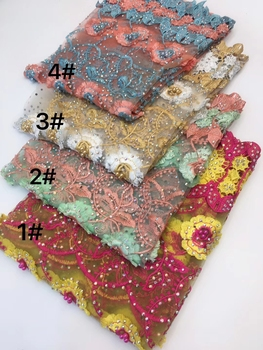 Hot Sale African Lace Fabric 5 Yards Flowers Embroidery Tulle Lace with Shiny Stones Nigerian Lace Fabric for Party ZXW-152