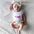 Hot Newborn Baby Clothing Girl set Summer Clothes Lace Tank Top+Floral PP Shorts+Headband Set  Baby Clothing Cotton 3pcs Suit