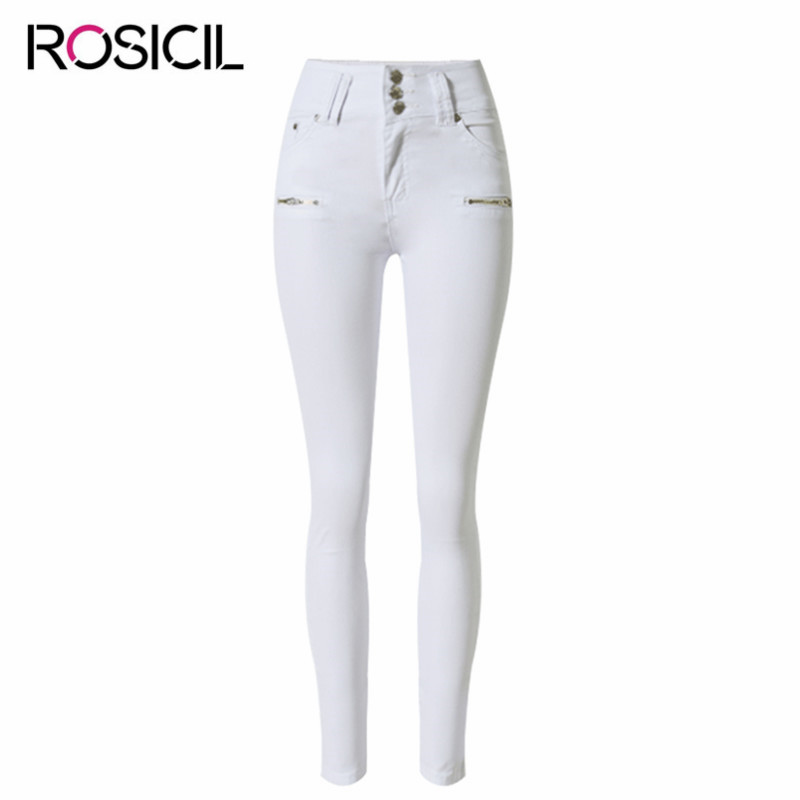 Fashion Women Brand Denim Jeans High waist  Skinny Pencil Jeans Sexy White Pants Women Casual Stretchy Pure Cotton Jean Trousers 2016 spring new arrival women fashion high waist skinny denim pencil pants femme elastic sexy slim jeans brand casual trousers