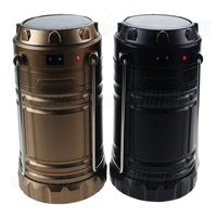 Portable Outdoor Solar LED Light Camping Lantern Tent Lights Hanging Lamp Gold Black Cover EU US
