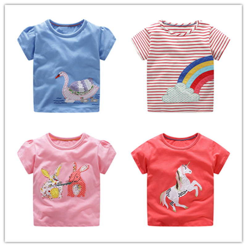 VIDMID Cotton Kids girls T-Shirt Children Summer Short Sleeve T-Shirts for Girls Clothes Cat Rabit Butterfly Baby T-Shirt tees