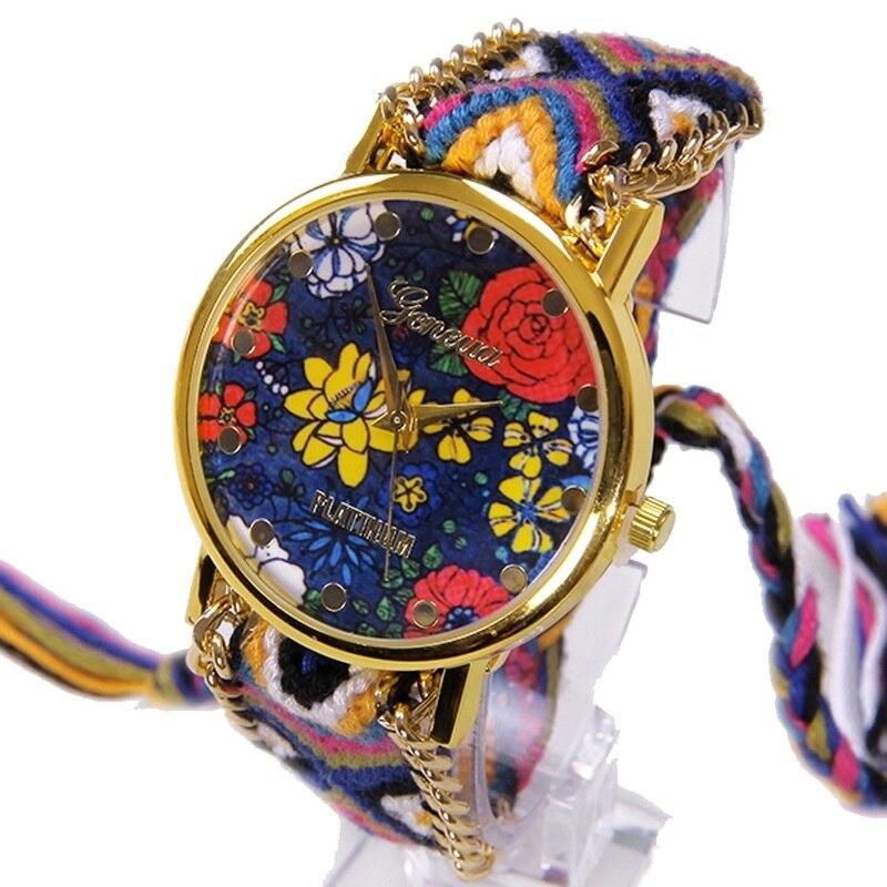 18de01c2e56 Gnova Relógio Mulheres Moda Genebra Platina NOVO top de Renda Estilo Retro  Flores Íris Hippie Tecido Quartzo Estudante Relógio de Pulso Hora
