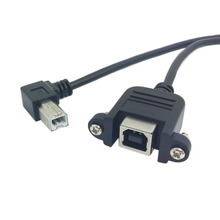 Right angled USB2.0 B Male to Female extension cable with screws for Panel Mount 1m