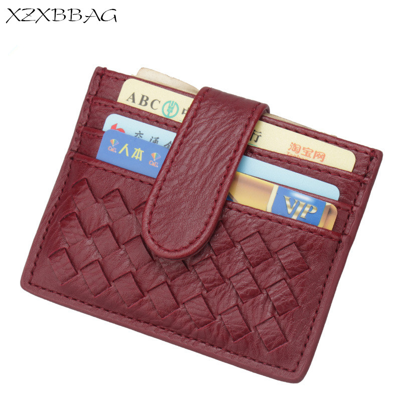 XZXBBAG PU Slim Woven Card Case Bag Women Small Wallet ID Credit Cards Holder Covers Female Cards Pack Cash Pocket Cardholder non woven fabrics hanging type 18 cd dvd card holder beige