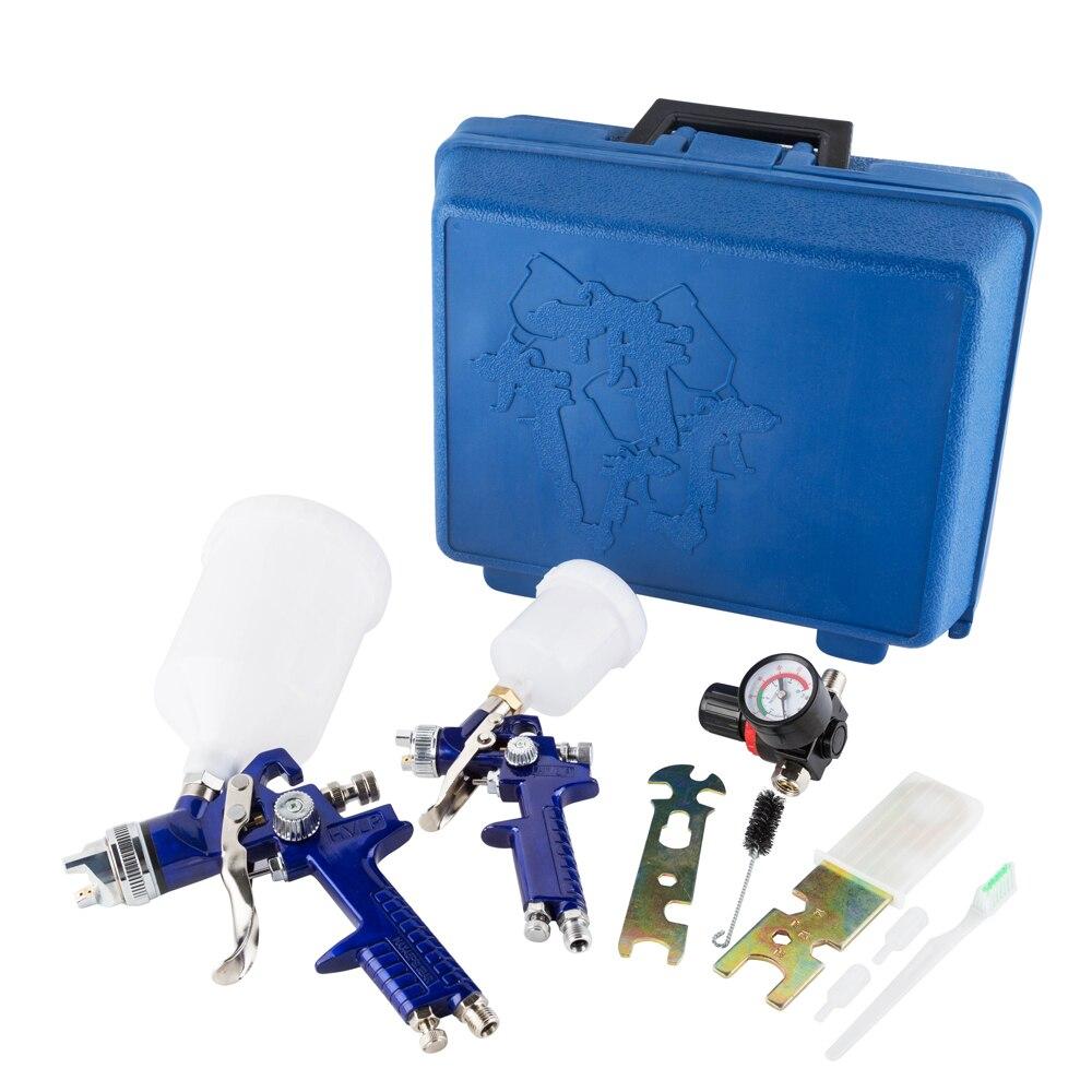 2 HVLP 0.8 & 1.4 Nozzle Air Spray Gun Kits Auto Gravity Feed Airbrush Car Detail Touch Up Sprayer Gravity Repair