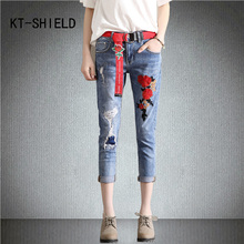 ripped boyfriend harem vaqueros mujer fashion Flowers embroidery female mid waist capris pants women denim pocket trousers jeans