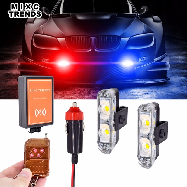 12v Auto Led Strobe Car Lights Wireless Remote Control 2pcs Stroboscope Flashing Mini Flasher Emergency Warning Light