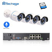 Techage 8CH 1080 P POE אבטחת P2P IR מערכת טלוויזיה במעגל סגור מצלמה ערכת מעקבים מצלמה 2.0MP חיצוני IP ראיית הלילה עם אודיו שיא