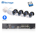 Techage 8CH 1080P POE NVR Kit Security Camera CCTV System 4PCS Outdoor Audio Record Sound IP Camera P2P Video Surveillance Set