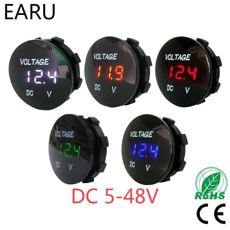 Round Waterproof Auto Boat Car Motorcycle DC5V-48V LED Panel Mini Digital Volt Voltage Meter Tester Monitor Display Voltmeter