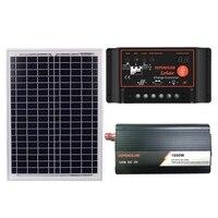 18V20W Solar Panel +12V Controller + 1000W Inverter Dc12V Ac230V Solar Power Generation Kit, For Outdoor And Home