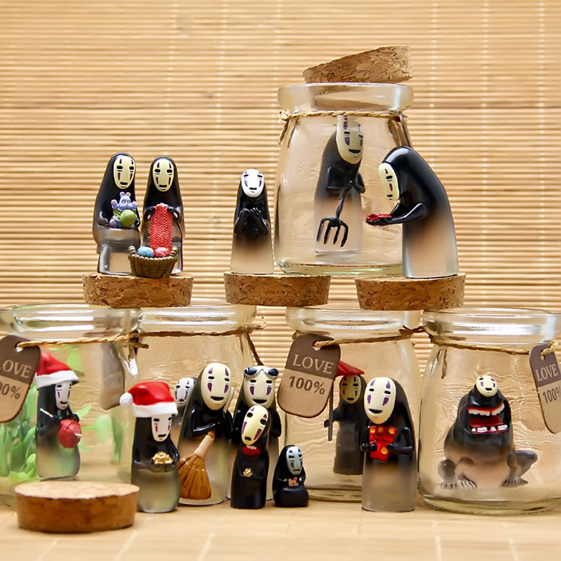 Hayao Miyazaki Spirited Away No Face Figures Glass Wishing Bottles Vial With Cork Stopper No Face Resin Action Figure Model Toys 50ml x 6 empty clear glass decoration bottle with wooden cork printing display wishing bottles cork stopper glass container