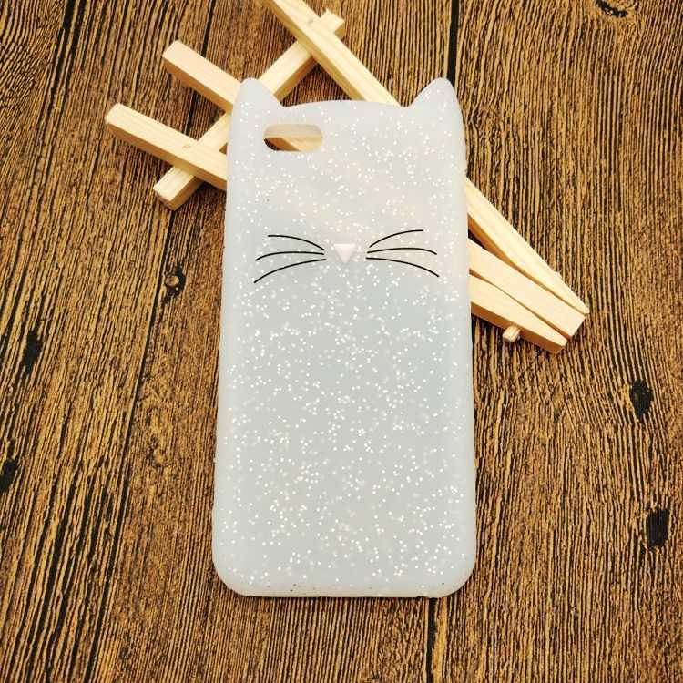Мягкий резиновый Coque черный чехол для iPhone 5 6 Чехол 3D милый мультфильм черная борода кошка ухо телефон чехол для iPhone 5S 6 S 7 Plus силиконовый