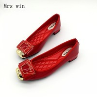 Brand Women Flats Shoes Spring Autumn Square Toe PU Button Slip On Low Heel Women S